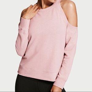 Pale pink VS cold shoulder sweater